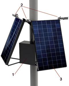 Рисунок 1. Внешний вид детектора очагов возгорания: 1 – электрический щит с электроникой и системой солнечной рекуперации, 2 – камеры видеонаблюдения, 3 – солнечные панели.
